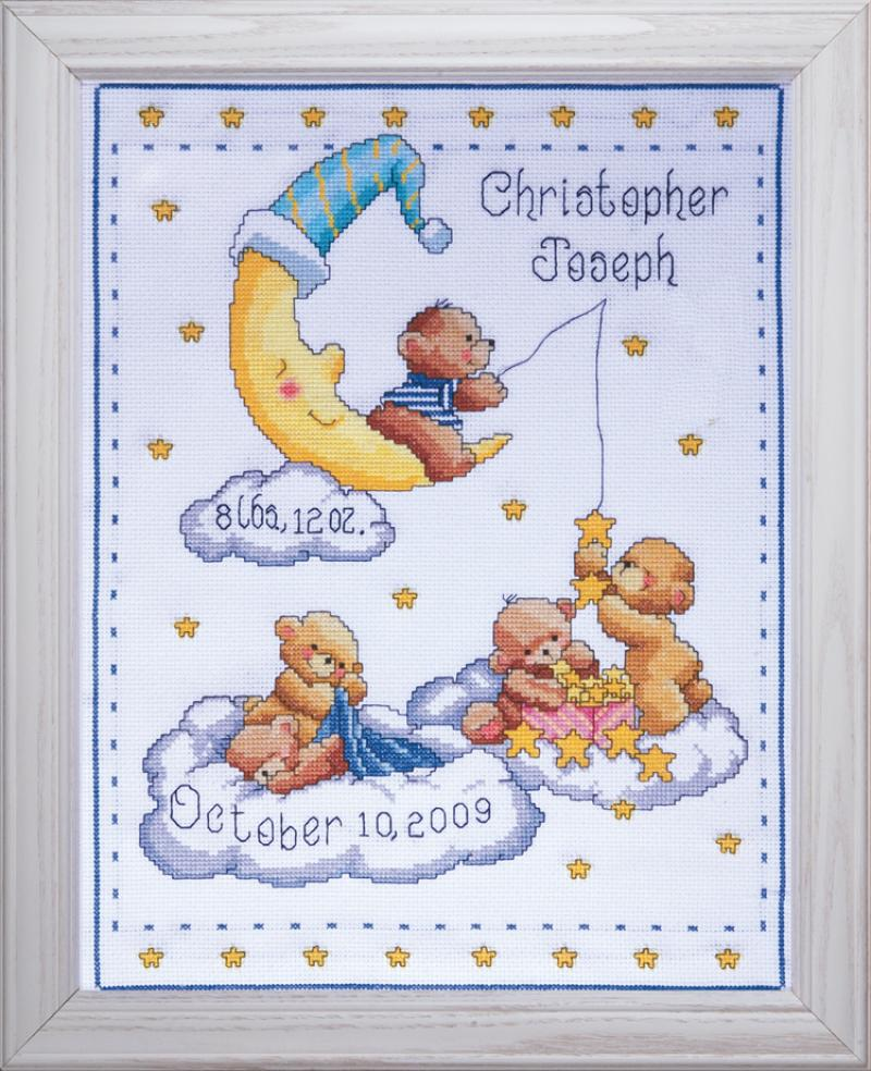 Heavenly Bears Birth Record - A Tobin Home Crafts counted cross stitch kit