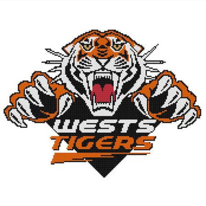 Wests Tigers NRL Logo Cross Stitch Design - stitchaphoto