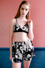 Load image into Gallery viewer, Bralette & Shorts - Black Pink Floral