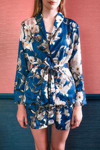 Lia Long Sleeve Tie Top - Blue Floral