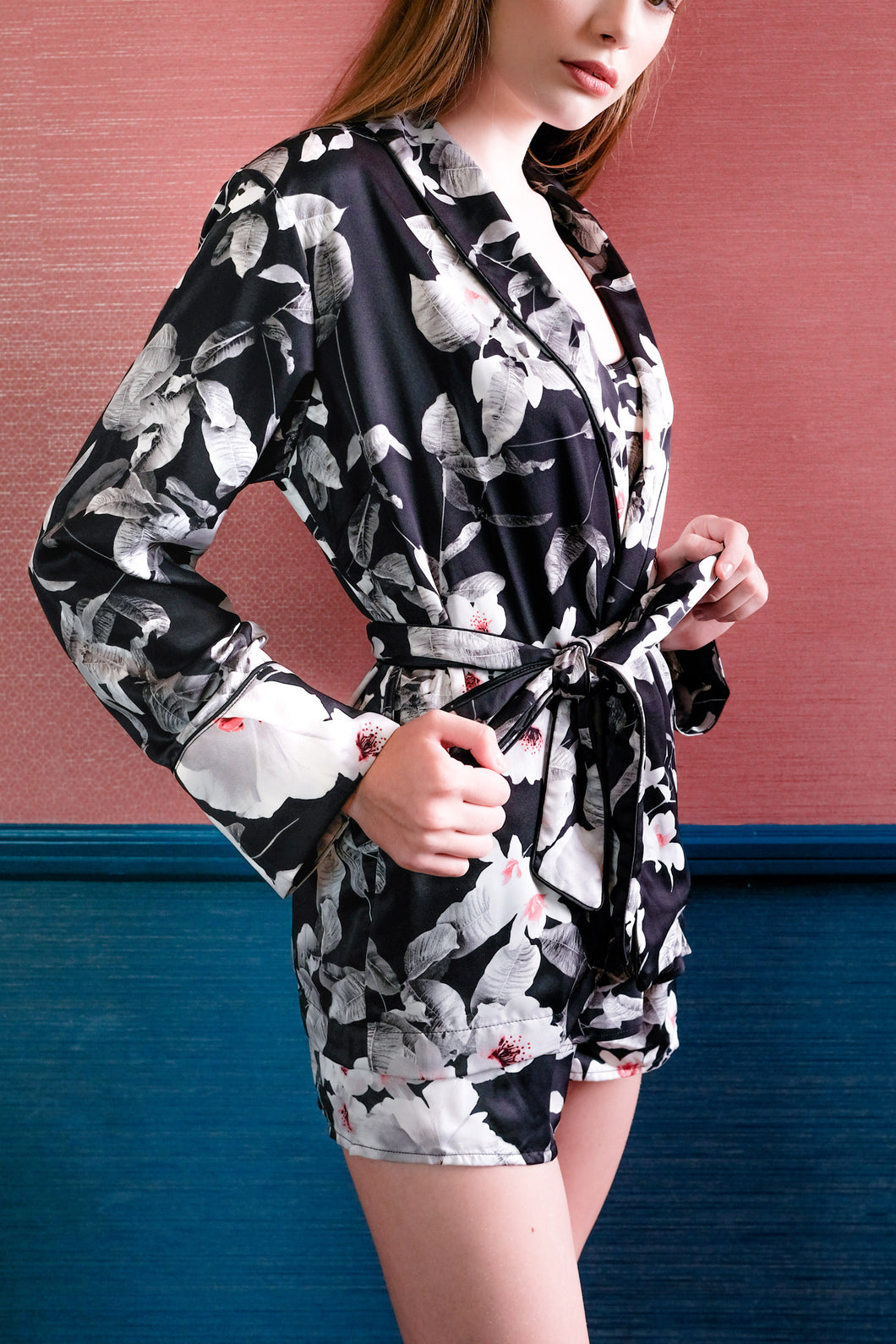 Lia Long Sleeve Top - Black Pink Floral