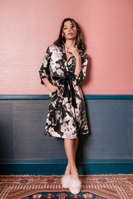 Demi Floral Robe - Black Pink