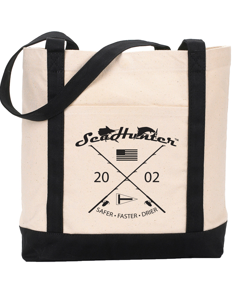 SeaHunter Black and Cream Canvas Tote
