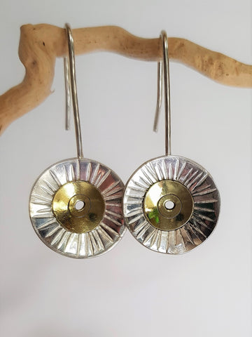 Silver & Brass Sun Earrings
