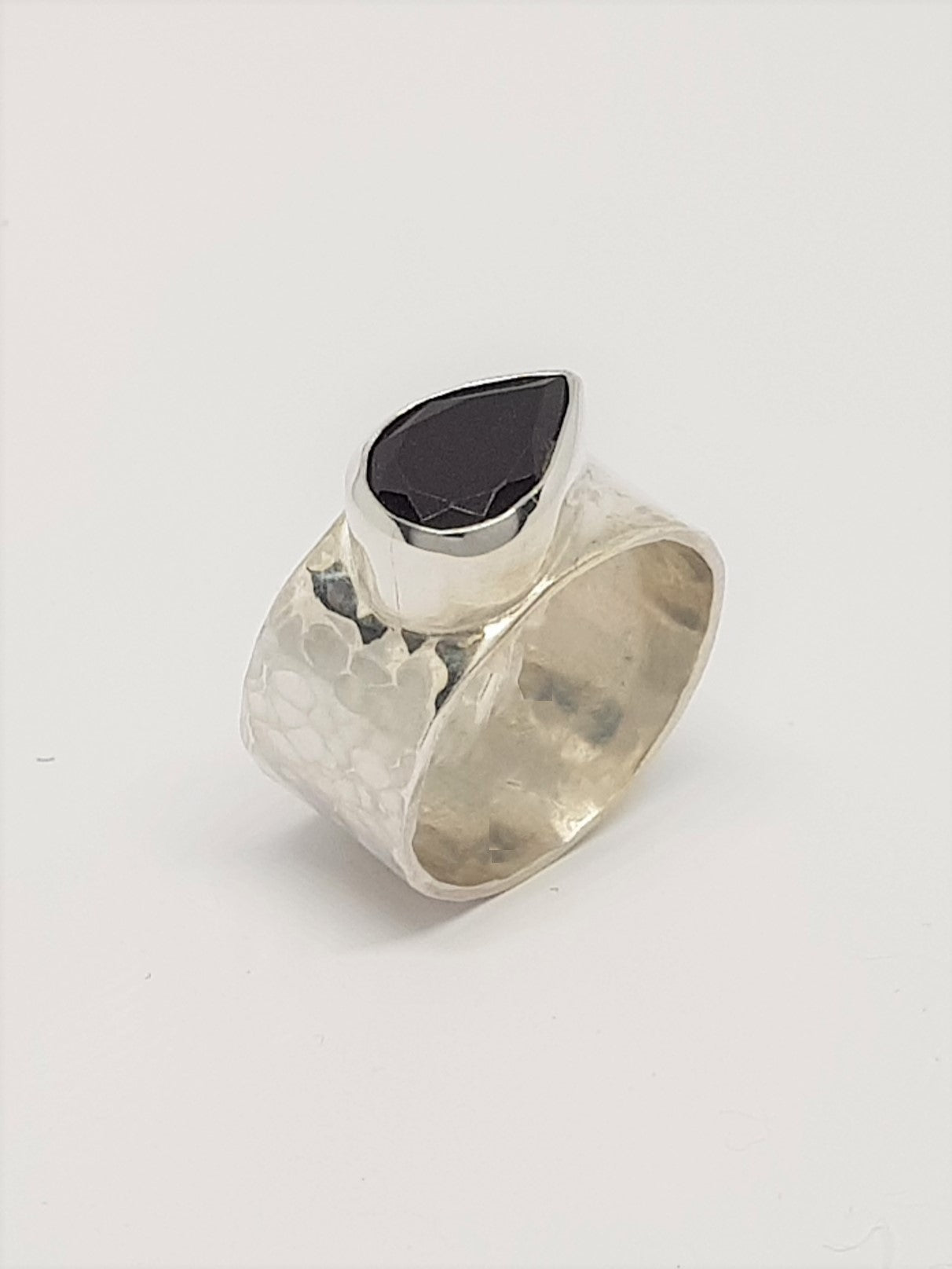 Pear Shaped Garnet & Silver Ring