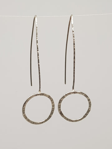 Hammered Circle Drop Earrings