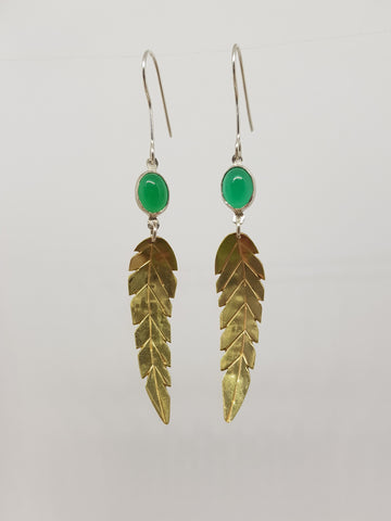 Green Agate Leaf Earrings