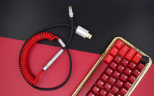 Load image into Gallery viewer, MelGeek Handmade Custom  Sleeved Coiled USB Cable Red Black