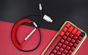 MelGeek Handmade Custom  Sleeved Coiled USB Cable Red Black