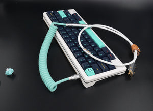 MelGeek Handmade USB Cable Coil on the Keyboard Side Tiffany Blue White |melgeek.com