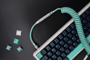 MelGeek Handmade Custom  Sleeved Coiled USB Cable Tiffany Coloway