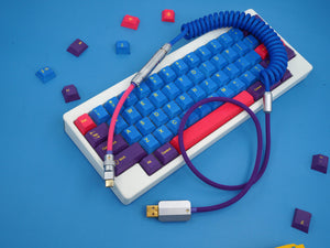 MelGeek Handmade Coiled USB Cable with Aviator GMK Iris Colorway|melgeek.com