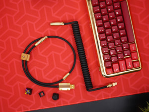 MelGeek Handmade Custom Coiled USB Cable with Gold Aviator