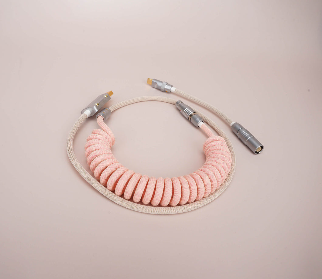 MelGeek Handmade Coiled USB Cable with Aviator Christian Pink Colorway