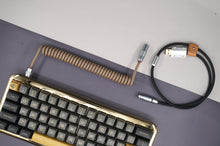 Load image into Gallery viewer, MelGeek Handmade USB Cable Coil on the Keyboard Side Sandy Black |melgeek.com