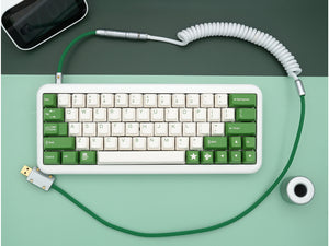 MelGeek Handmade Custom  Sleeved USB Cable GMK Violent on Cream /Filco Cheese Green /Camping /Composition /Flamingo Themed Cable