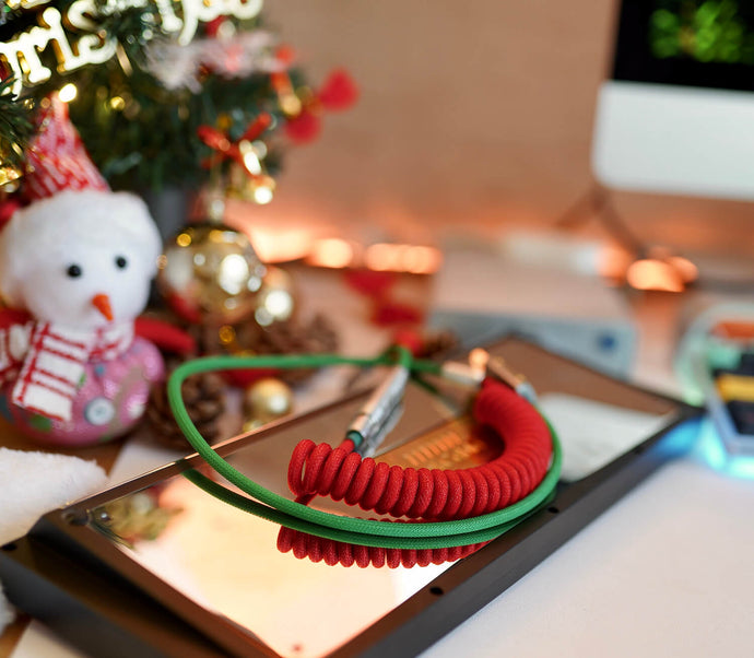 MelGeek Handmade Custom Sleeved USB Cable Christmas  Gift Themed Cable