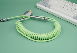 MelGeek Handmade Custom  Sleeved Coiled USB Cable Matcha Green