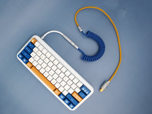 MelGeek Handmade Coiled USB Cable with Aviator WAHTSY Keycaps Colorway