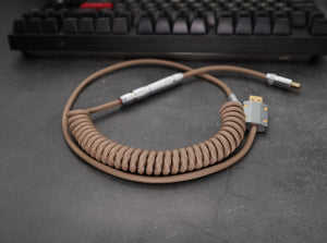 MelGeek Handmade Custom  Sleeved USB Cable Classic Black ,GMK Jamón, Striker, SA Nautilus, Banana Themed Cable