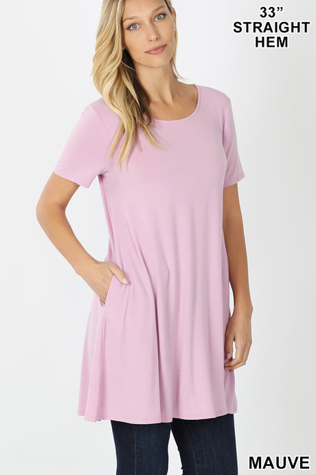 Zane, Short Sleeve Lux Soft Tunic Top with Pockets