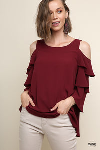 Naomi, Tiered Ruffle Sleeve Open Shoulder Back Keyhole Blouse