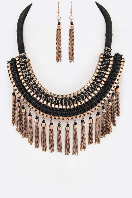 Fringe Chain Statement Necklace and Earring Jewelry Set