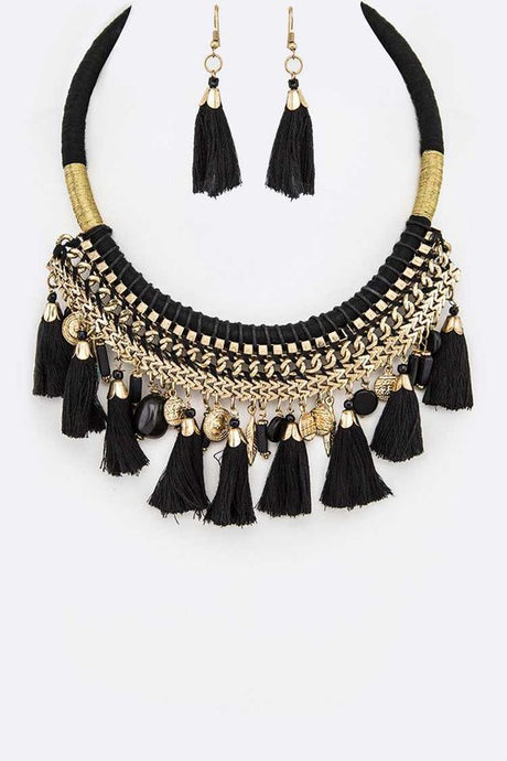 Fringe Tassel Black Statement Necklace and Earring Jewelry Set