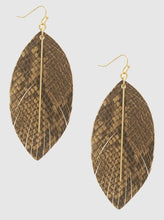 Load image into Gallery viewer, Snake Skin Embossed Leatherette Metal Bar Dangle Earrings