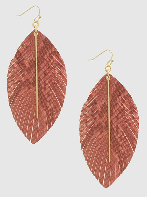 Snake Skin Embossed Leatherette Metal Bar Dangle Earrings