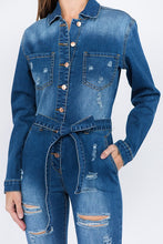 Load image into Gallery viewer, Annalisa, Denim Distress Jumpsuit