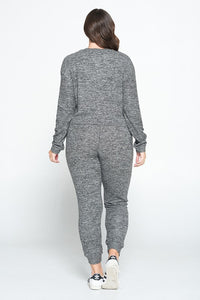 Juniper, Sweater Knit Jogger Pant and Crop L/Sleeve Top Set - Plus
