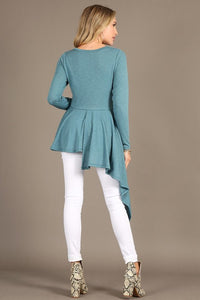 Bell, Long Sleeve Hacci Knit Asymmetrical Side Top