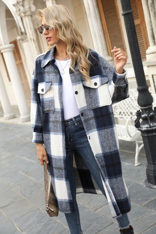 Joaquin, Long Plaid Shirt Dress Jacket