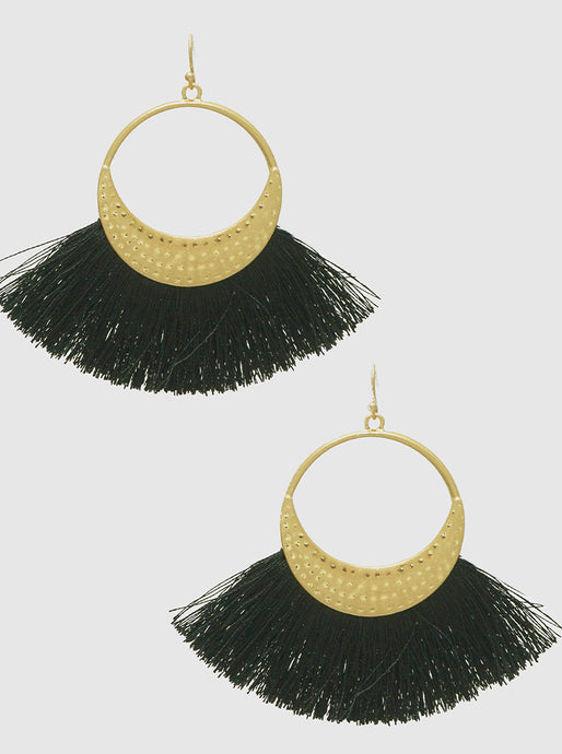 Textured Metal Thread Fan Tassel Drop Gold Tone  Earrings