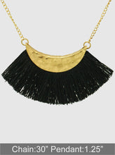 Load image into Gallery viewer, Textured Metal Thread Fan Tassel Pendant Long Necklace