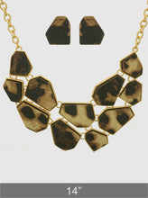 Load image into Gallery viewer, Leopard Animal Print Leatherette Geometric Shape Chocker Statement Necklace Set With Earrings