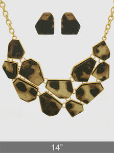 Leopard Animal Print Leatherette Geometric Shape Chocker Statement Necklace Set With Earrings
