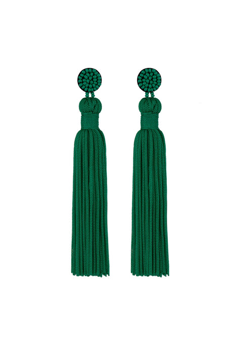 Long Thread Tassel Knot Pierced Earrings