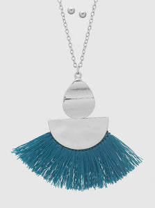 Fan Shape Thread Tassels Hammered Metal Pendant Necklace and Earrings Set