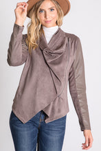 Load image into Gallery viewer, Minnie, Drape Collar Leatherette and Faux Suede Jacket