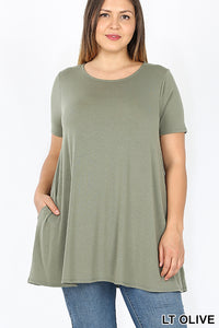 Zane, Short Sleeve Lux Soft Tunic Top with Pockets- Plus