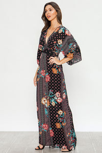Ashley, Drop Shoulder Floral Print Jumpsuit