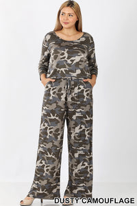 3/4 Sleeve Catania, One Piece Camouflage Jumpsuit with Pockets