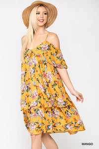 Grenada, Floral Cold Shoulder Ruffle Layered Dress