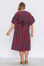 Load image into Gallery viewer, Amira, Stripe Faux Wrap Dress with Tie - Plus