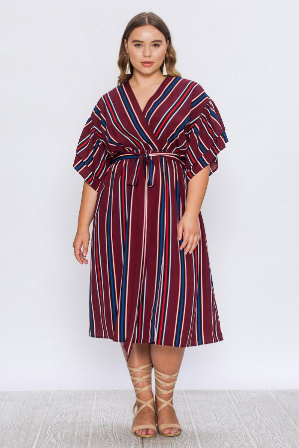 Amira, Stripe Faux Wrap Dress with Tie - Plus