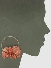 Load image into Gallery viewer, 60mm Hoop with Floral Fabric Flowers Large Earrings