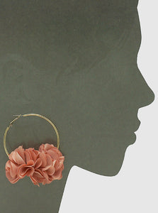 60mm Hoop with Floral Fabric Flowers Large Earrings