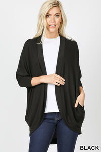 DeDe, 3/4 Sleeve Cocoon Cardigan w/ Pockets